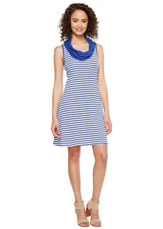 Three Dots Mykonos Stripes Cowl Neck Dress