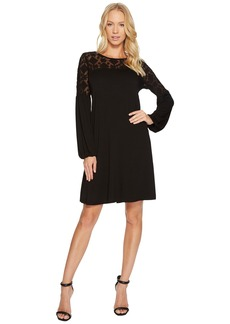 Three Dots Refined Jersey & Embroidered Tulle Dress
