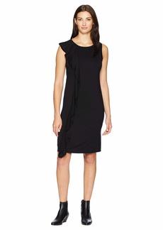 Three Dots Refined Jersey Ruffle Dress