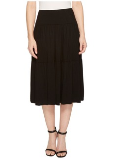 Three Dots Refined Jersey Tiered Midi Skirt