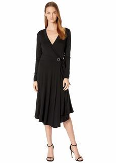 Three Dots Refined Jersey Wrap Dress w/ Grommet Detail