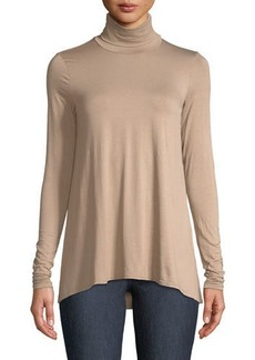 Three Dots Relaxed High-Low Turtleneck Tee