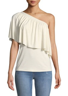 Three Dots Ruffled One-Shoulder Jersey Top