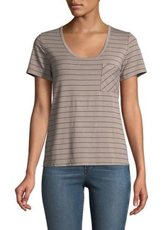 Three Dots Scoop-Neck Striped Pocket Tee