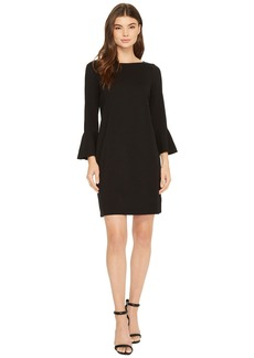 Three Dots Shift Dress with Flounce
