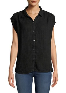 Three Dots Short-Sleeve Button-Front Gauze Blouse
