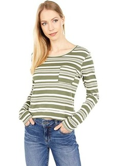 Three Dots Stripe Long Sleeve Pocket Tee in Cotton Modal