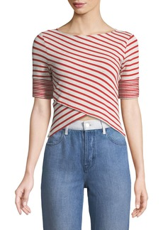 Three Dots Striped Cross-Front Top