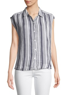 Three Dots Striped Short-Sleeve Button-Front Blouse