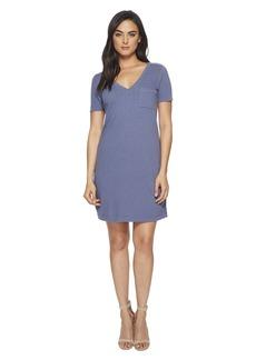 Three Dots Sueded Slub Knit T-Shirt Dress