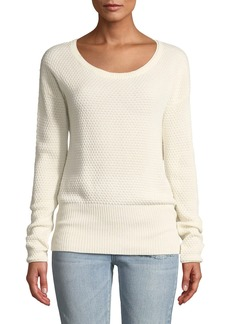 Three Dots Textured Silk-Cashmere Drop-Shoulder Sweater