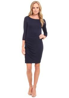 Three Dots 3/4 Sleeve Asymmetrical Shirred Dress