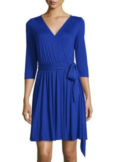 Three Dots 3/4-Sleeve Jersey Wrap Dress