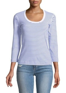 Three Dots 3/4-Sleeve Striped Scoop-Neck Tee