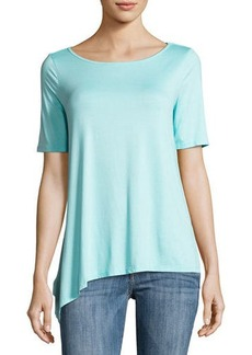 Three Dots Asymmetric Boat-Neck Jersey Top