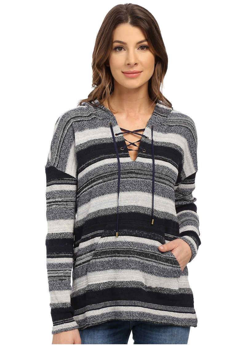 Three Dots Becca Lace Front Long Sleeve Hoodie