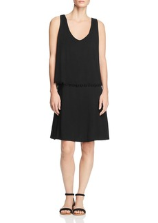 Three Dots Bodice Overlay Pom-Pom Dress