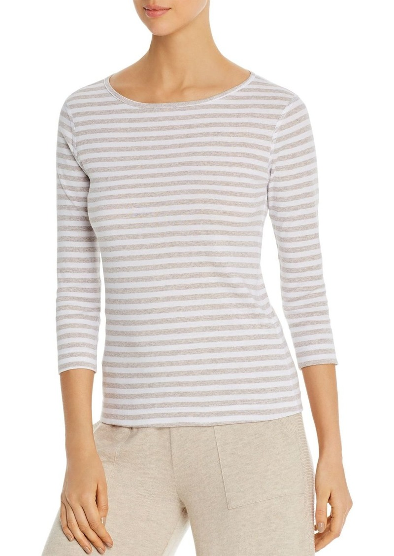 Three Dots Breckenridge Striped Three-Quarter Sleeve Tee