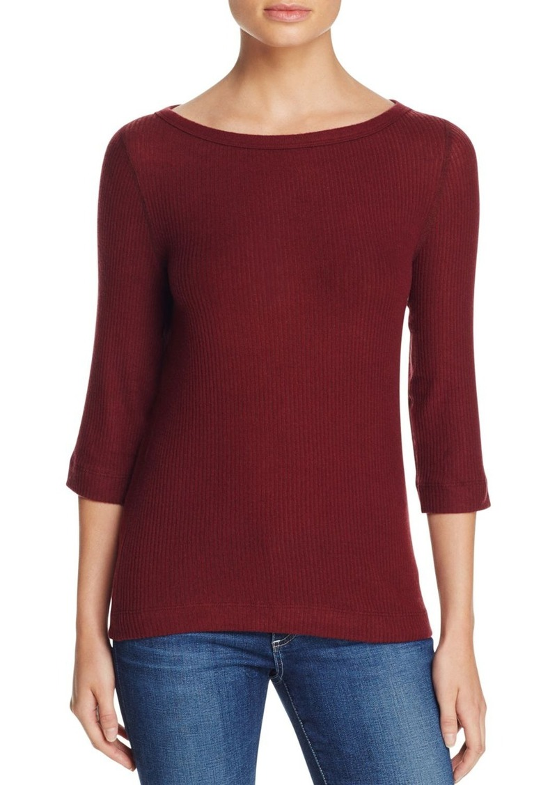 Three Dots Brushed Boat Neck Top