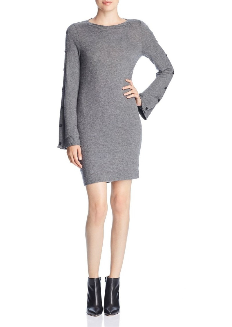 Three Dots Brushed Button-Sleeve Sweater Dress