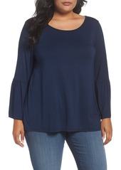 Three Dots Button Back Bell Sleeve Top (Plus Size)
