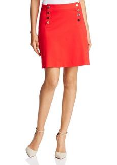 Three Dots Button Bib Mini Skirt