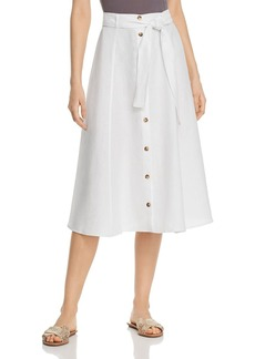 Three Dots Button-Down Linen Midi Skirt