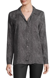 Three Dots Button-Up Snakeskin-Print Blouse