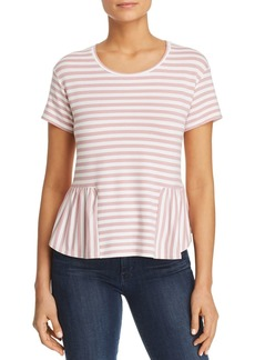 Three Dots Cape Cod Striped Peplum Top