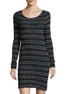 Three Dots Cara Tie-Back Metallic-Striped Sweater Dress