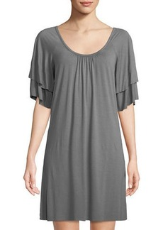 Three Dots Classic Spring Tiered-Sleeve Shift Dress