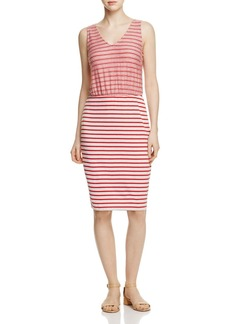 Three Dots Contrast Stripe Sleeveless Dress