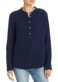 Three Dots Cotton High/Low Henley Top