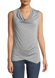 Three Dots Cowl-Neck Asymmetric Cross-Front Heathered Jersey Blouse