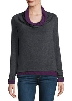 Three Dots Cowl-Neck Long Sleeve Top