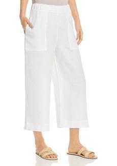 Three Dots Cropped Wide-Leg Linen Pants