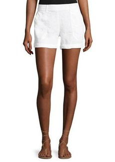 Three Dots Cuffed Linen Shorts