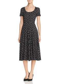 Three Dots Dot Print Midi Dress