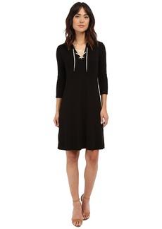 Three Dots Elna Lace-Up Hi Low Dress