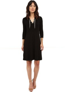 Three Dots Elna Lace-Up Hi Low Dress