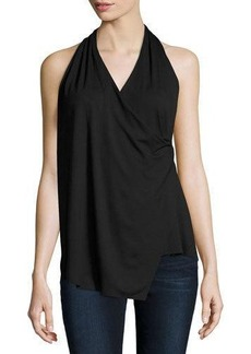 Three Dots Erica Faux-Wrap Jersey Tank