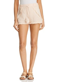 Three Dots Frayed Hem Shorts