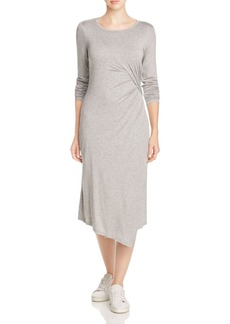 Three Dots Gathered Faux Wrap Dress