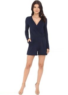Three Dots Kadiri Long Sleeve Wrap Romper