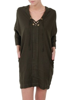Three Dots Lace-Up Cocoon Dress