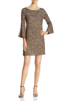 Three Dots Leopard Bell-Sleeve Dress