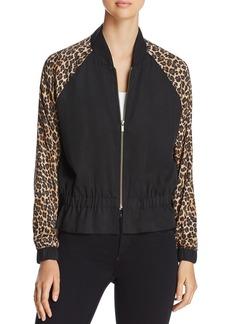 Three Dots Leopard Print Bomber Jacket