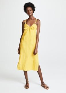 Three Dots Linen Tie Front Midi Dress