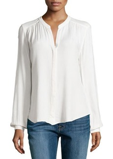 Three Dots Long-Sleeve Gathered Blouse