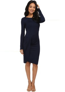 Three Dots Long Sleeve Pleated Drape Dress